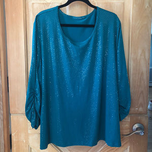 Dressy Turquoise Embellished Blouse 3X